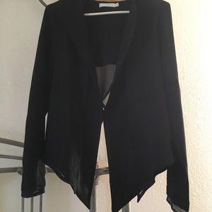 Lush black chiffon layered blazer jacket open back
